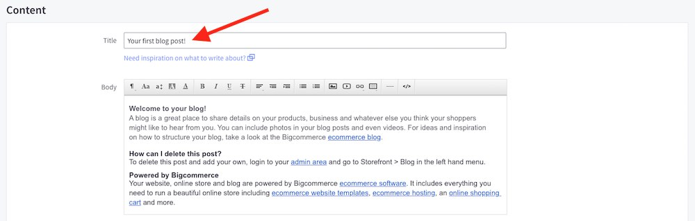 Editing a title on a Bigcommerce blog post