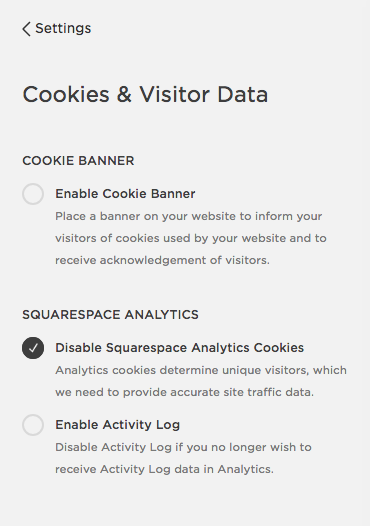 Disabling Squarespace's cookie banner, Analytics and the Activity Log