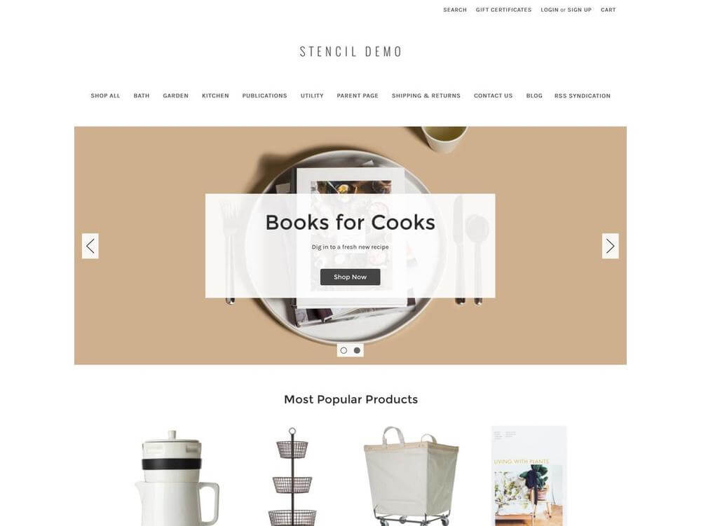 The Stencil theme from Bigcommerce