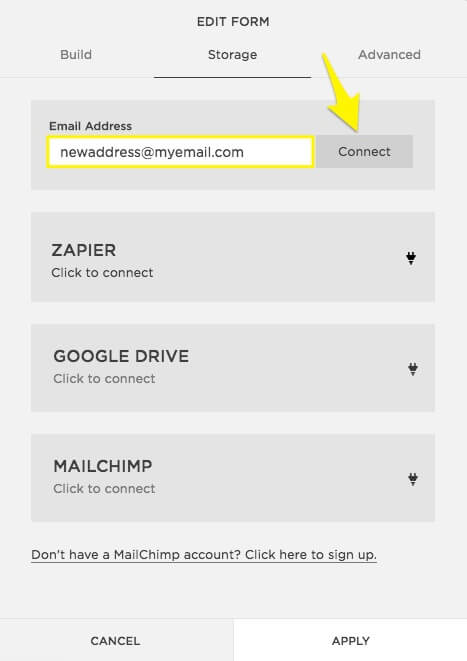Email address capture options in Squarespace