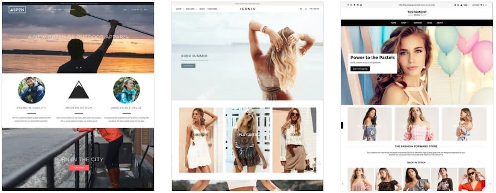 Examples of Shopify's most popular premium themes