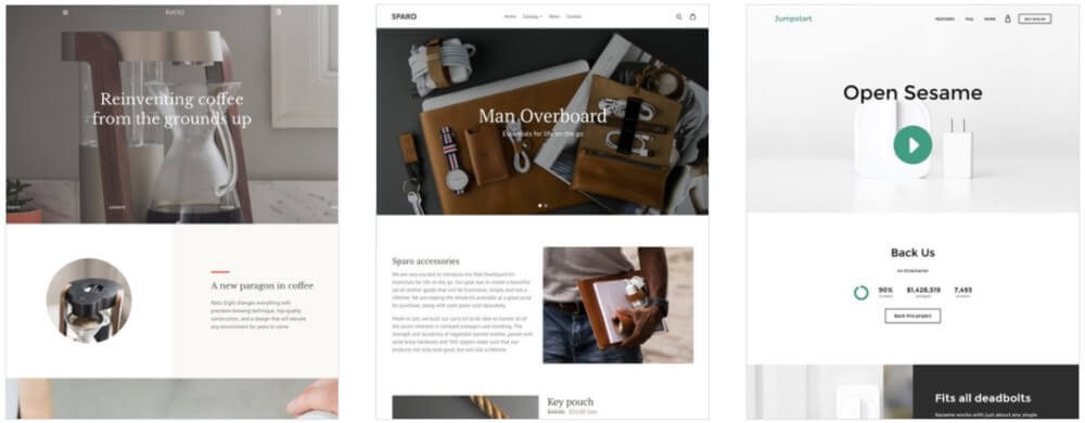 Examples of themes that are included with Shopify.
