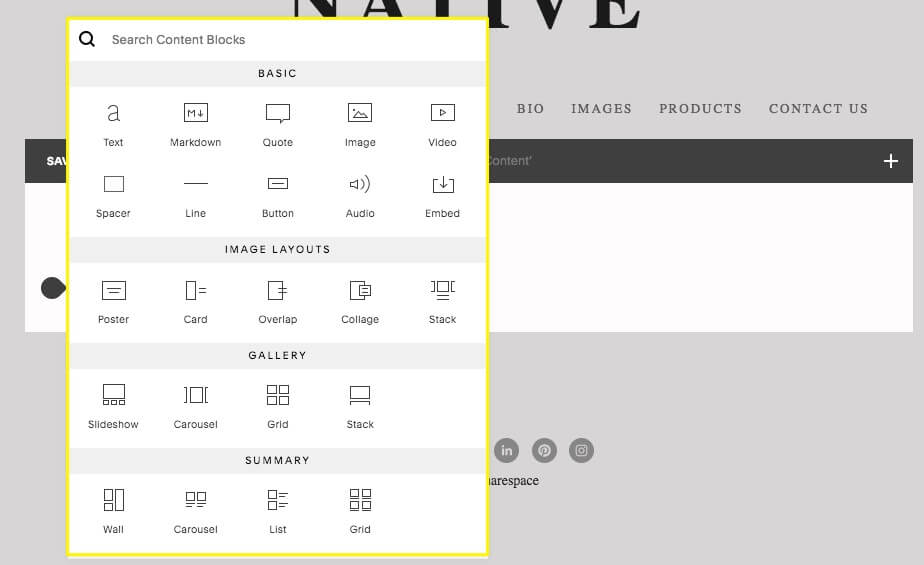 Laying out content in Squarespace is very easy, thanks to its 'content block'-based interface.