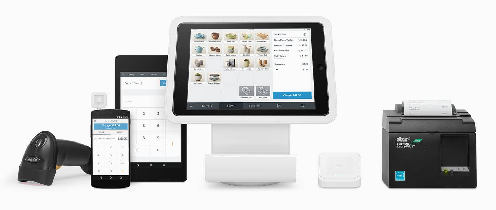 Bigcommerce supports official integrations with point-of-sale hardware provided by companies like Square; Squarespace does not.
