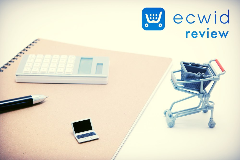 Ecwid review (image of a shopping trolley beside the Ecwid logo)