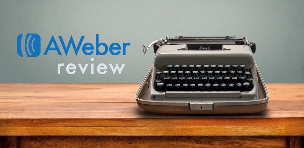 Aweber review (image of the Aweber logo beside a typewriter)