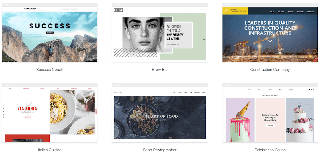 Some examples of Wix templates