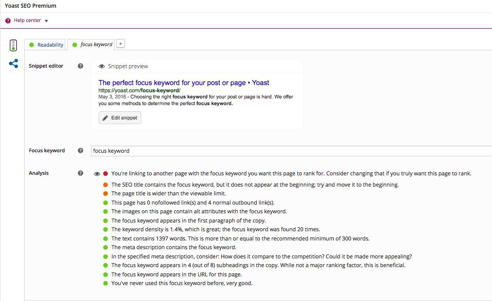 Yoast plugin for Wordpress - a great SEO tool