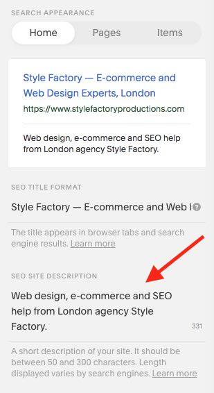 Adding a home page meta description in Squarespace