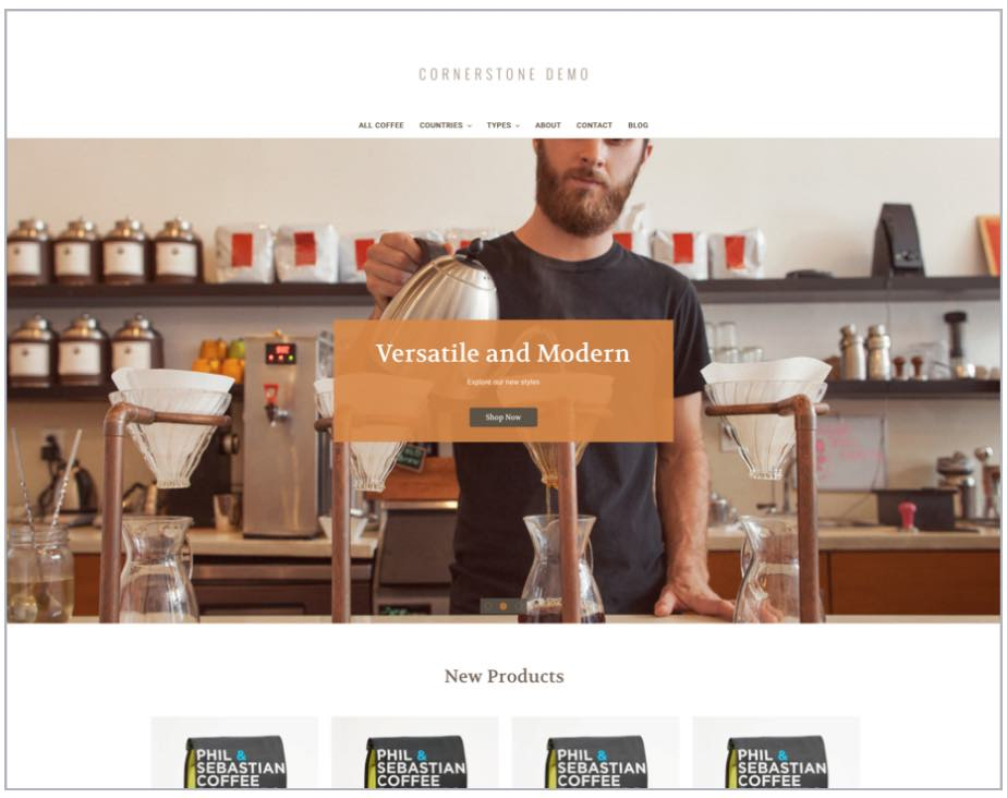 Example of a free Bigcommerce theme, 'Cornorstone'