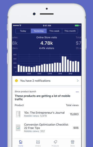 Shopify's mobile app (iOS)