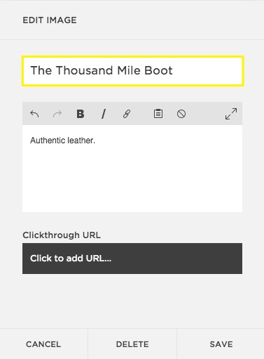Adding alt text to a gallery block in Squarespace.
