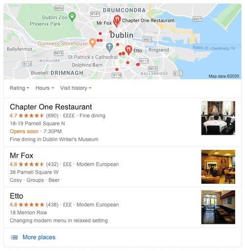 """Poiché questi proprietari di ristoranti di Dublino hanno fatto uno sforzo per registrare i loro locali con Google My Business, le loro attività vengono visualizzate prima di qualsiasi altro risultato di ricerca per la frase """"ristoranti a Dublino"""".  Di conseguenza, godono di un enorme vantaggio rispetto ai loro concorrenti."""