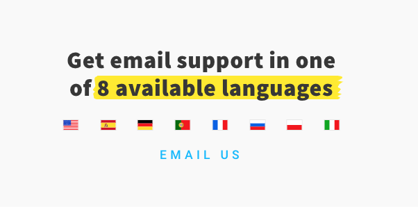 Getresponse email support is available in several languages.