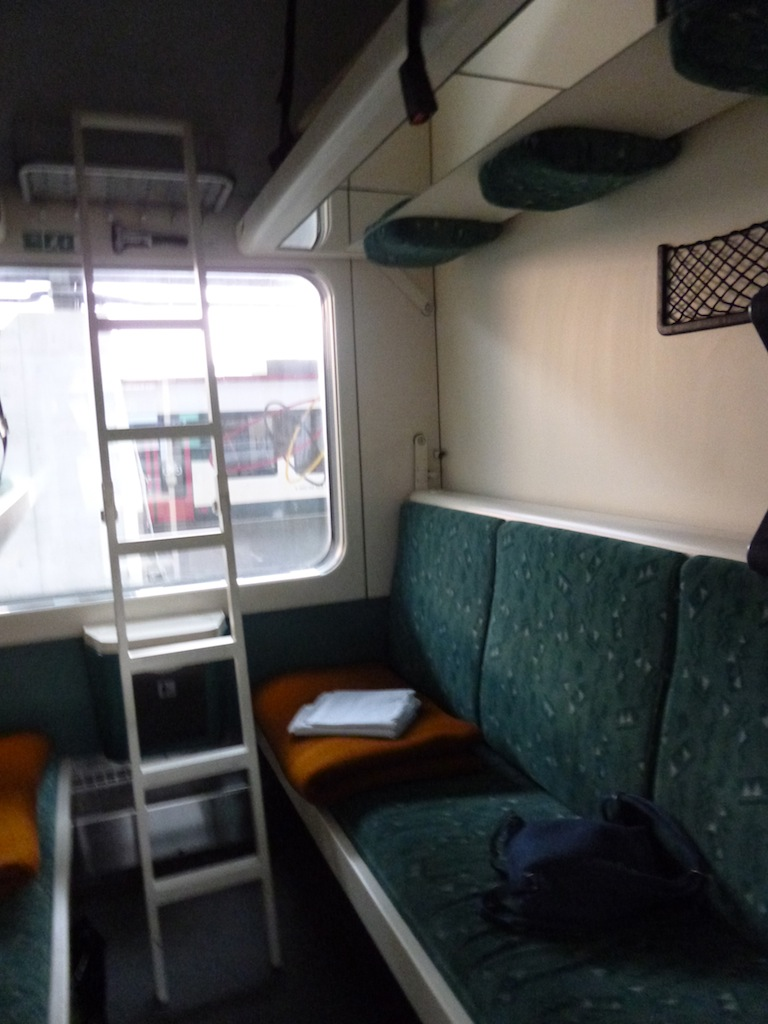 An advantage of being only four in a compartment is being able to have seating AND sleeping arrangements at the same time
