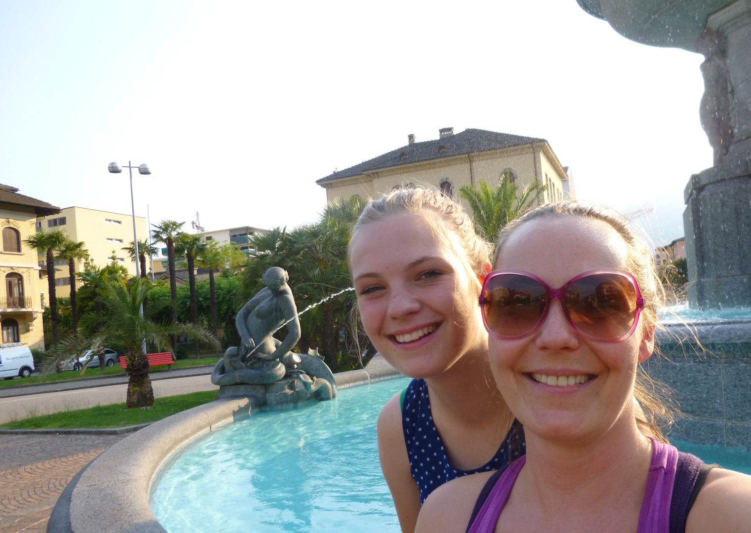 My little sister and I having some fountain time