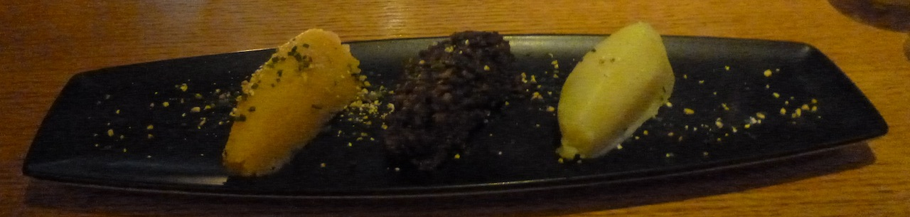 Haggis flanked by mashed turnip and potato - excuse the lighting, it was pretty dark in the restaurant!