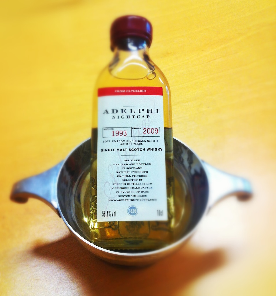 Mini bottle of Adelphi Whisky in a quaich, a traditional drinking vessel