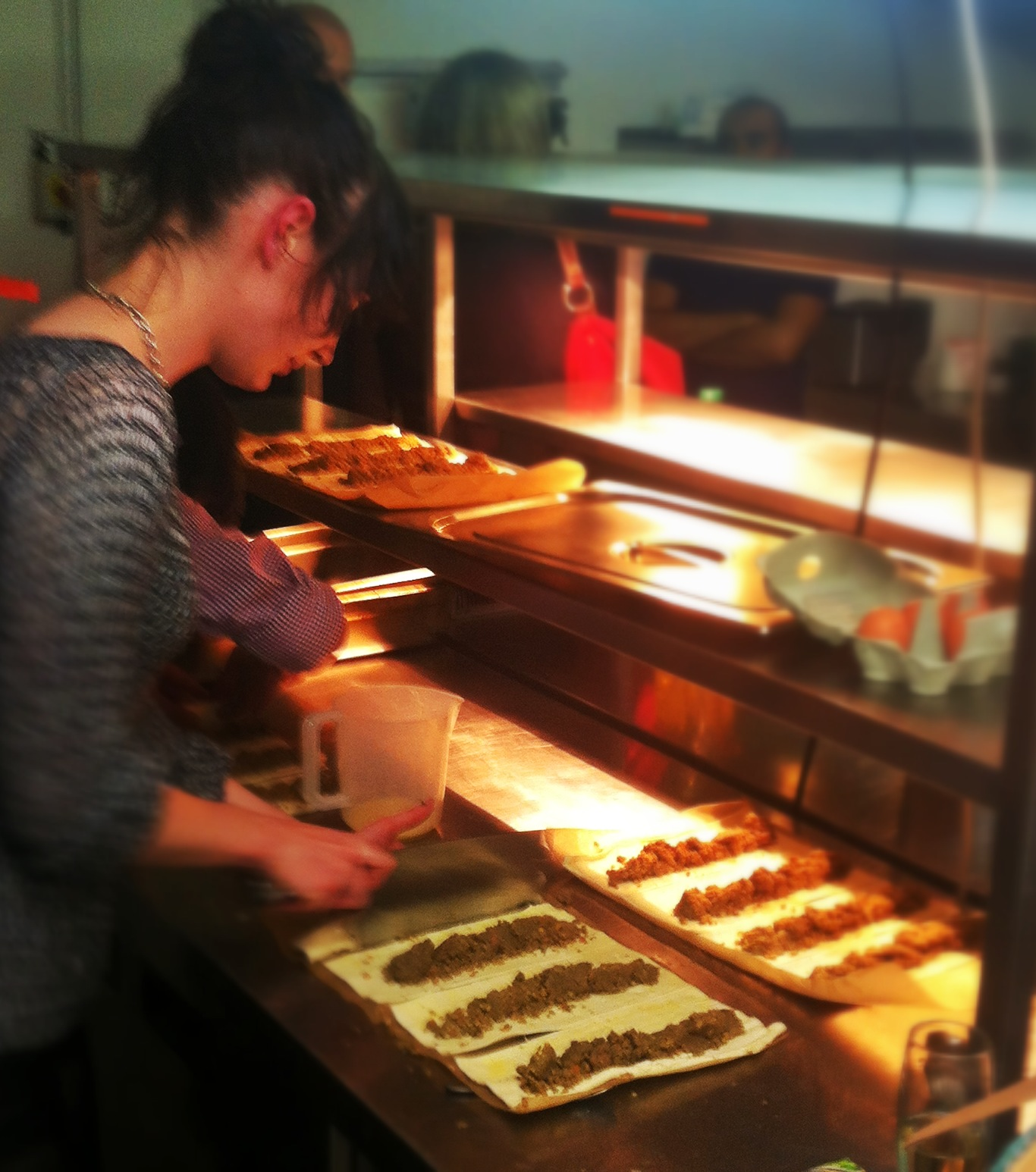 Siobhan Hanlin , food expert and copywriter getting the vegetarian haggis on the go