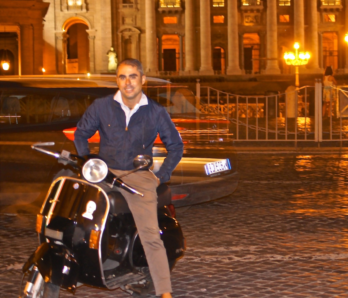 Valerio, quite at home on his Vespa!