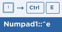 An example line of script, sending Ctrl+E with the Numpad 1 key.