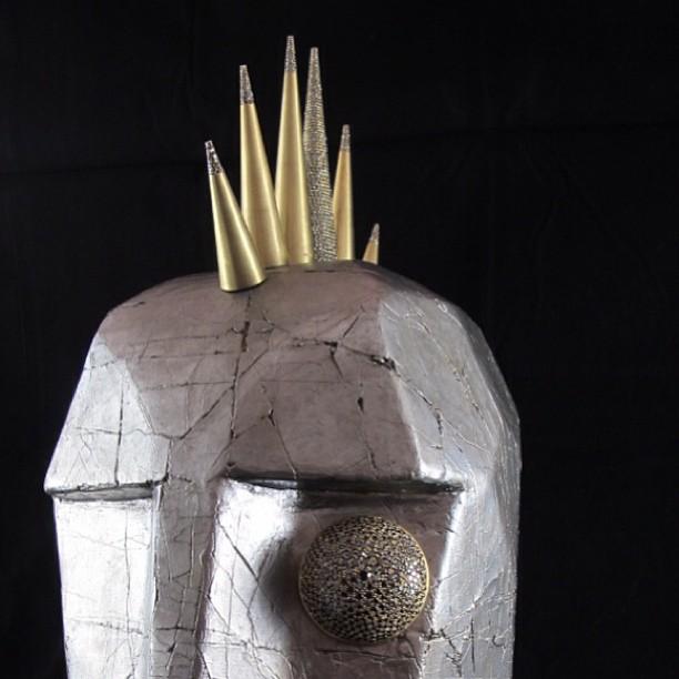 Black diamond encrusted gun metal silver leaf crackle finish