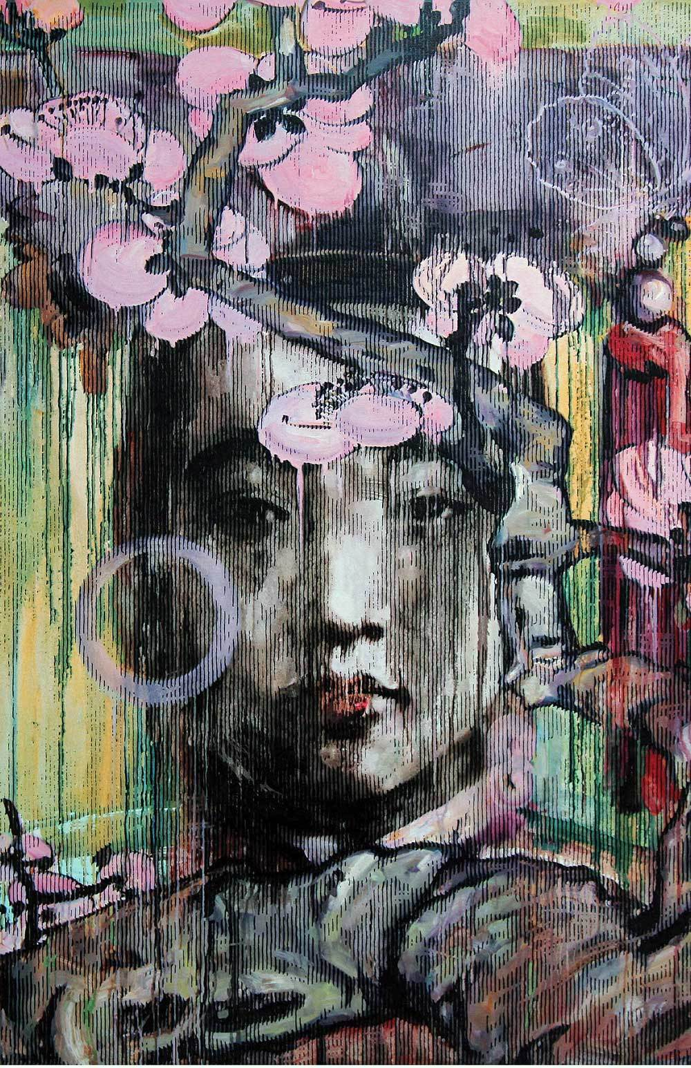 Front cover of  The Lost Poems of Cangjie: Winter Blossom , 2011, by Hung Liu. Woodcut with acrylic; 23.25 x 23.5 in. Copyright © 2011 by Hung Liu