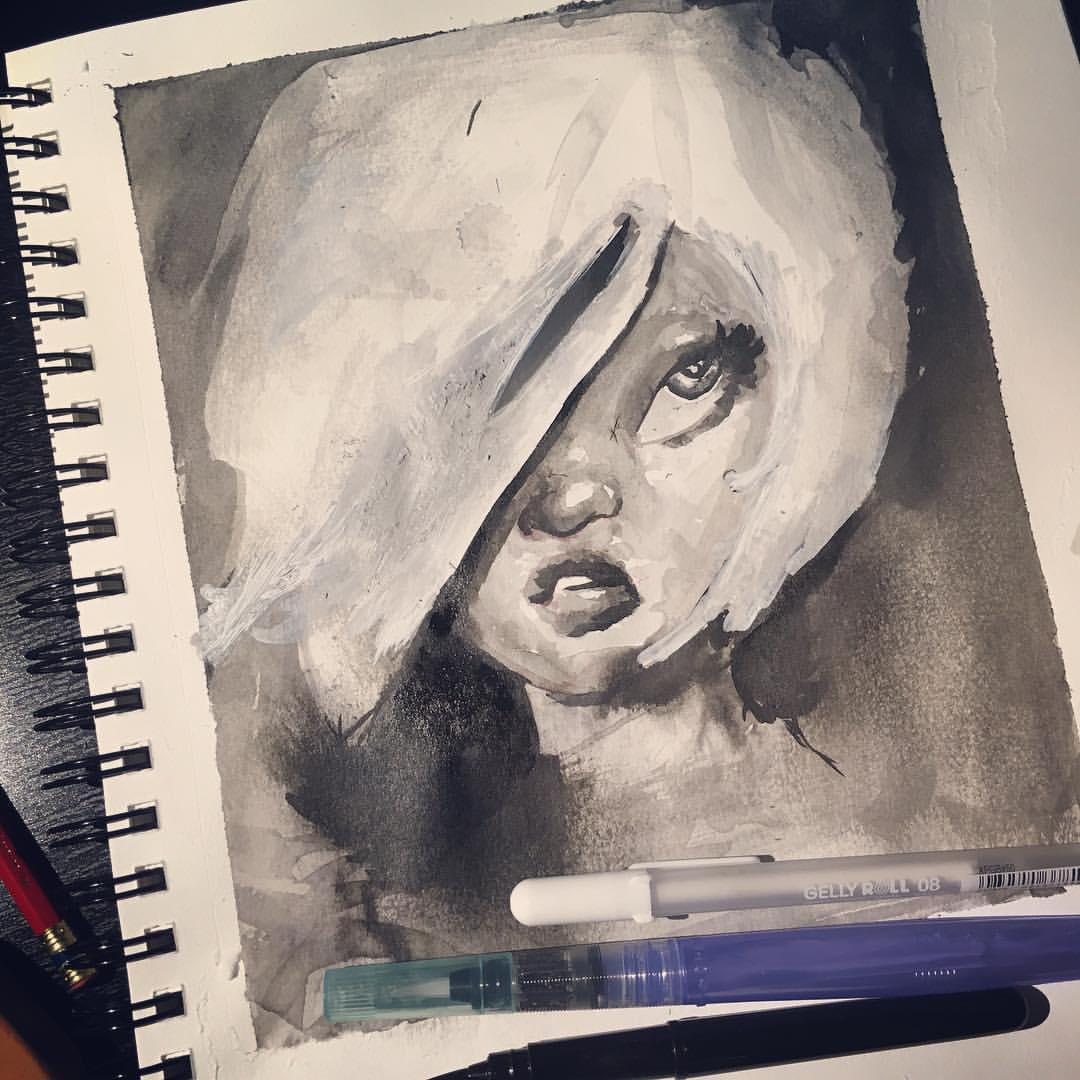 Getting messy trying to mix water and ink   #inktober #ink #pentelbrushpen #inkstagram #inktober2015 #sketch #sketchbook #artist_features #arts_gate