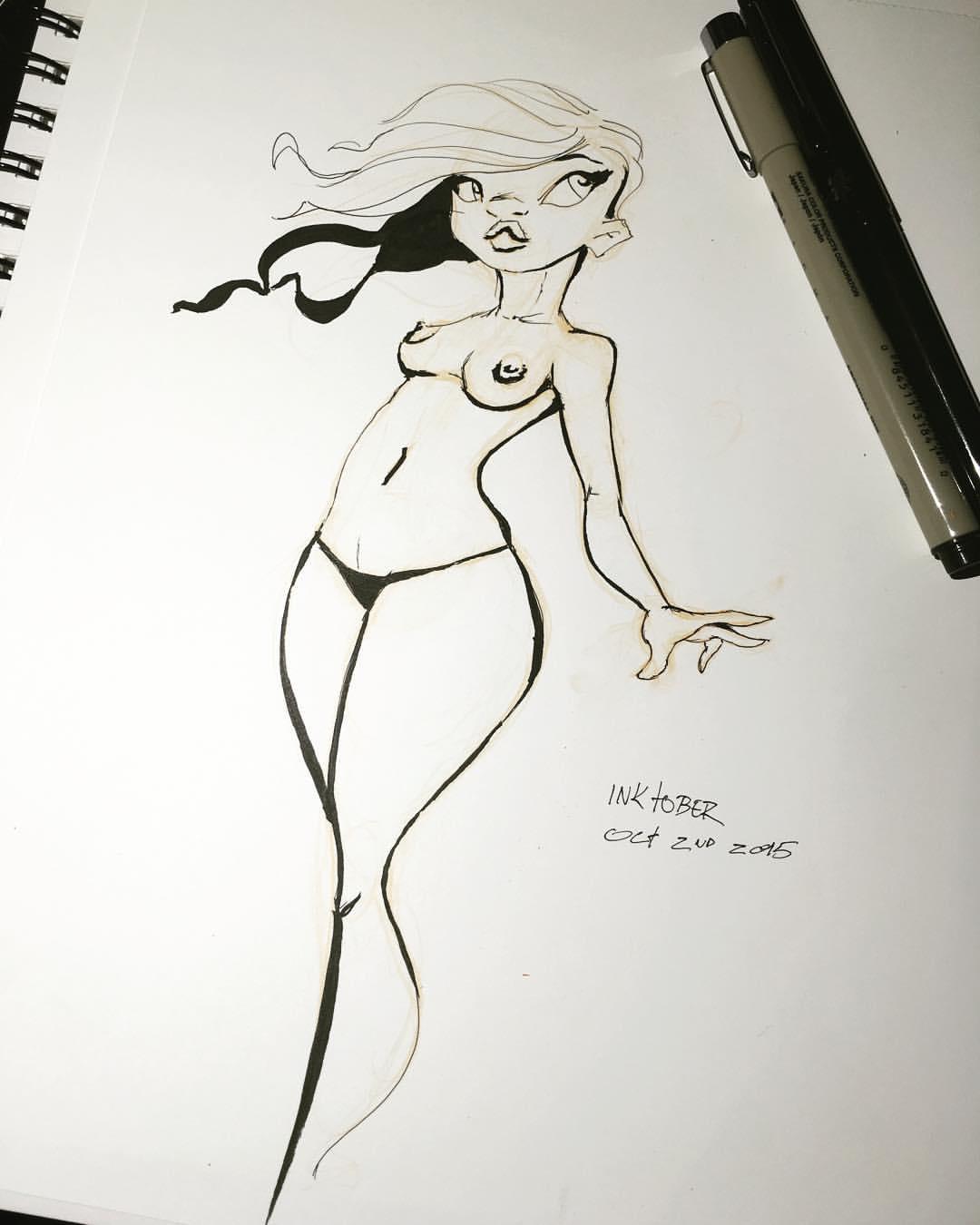My late start on inktober   #inktober #inktober2015 #ink #sketch #sketchbook #girlsketch #pentelbrushpen