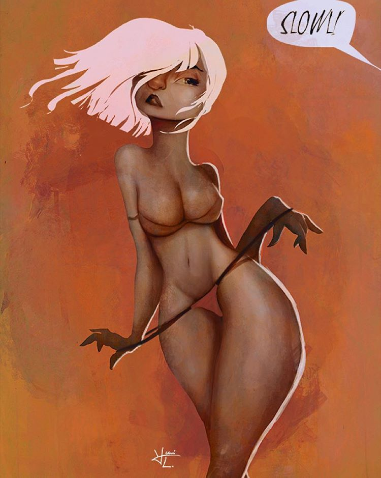 Latest one before going to bed. #digitalart #pinupart #drawing #painting #artnude #sexyart