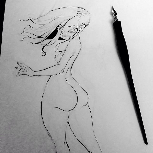 Wip. #pinups #sketch #drawing#comicgirls #comics #ink #doodle #pinupgirl