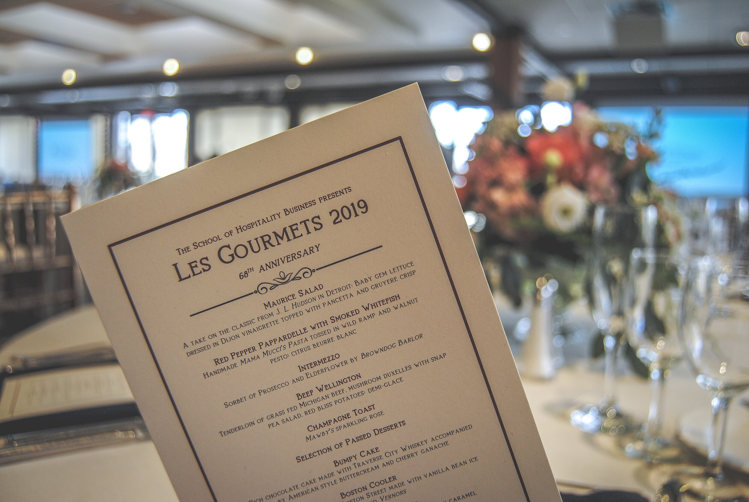 Our menu from the previous year's  Les Gourmets