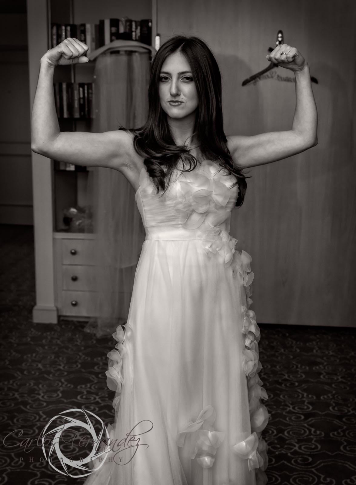 Janie proud of her wedding dress.