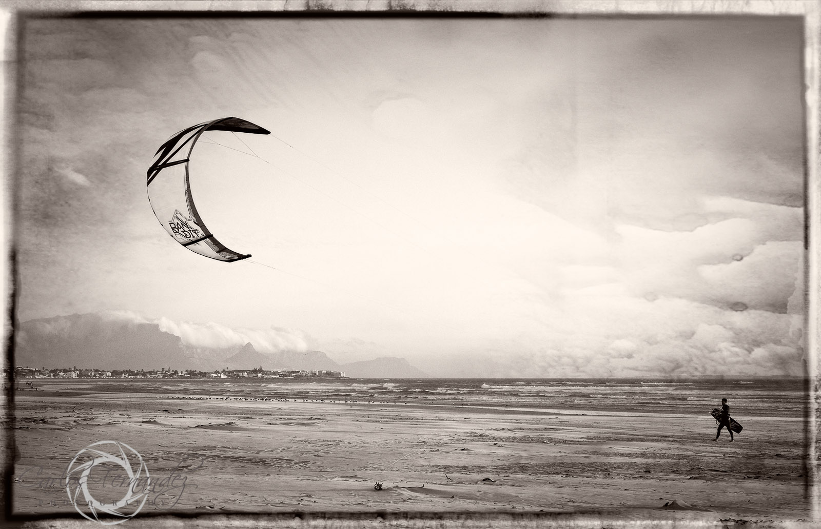 Cape Town Kite Surfer with Table Mountain