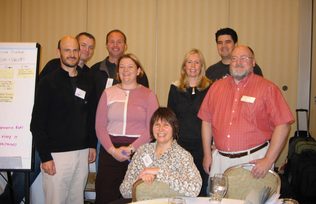 Scrum Values session at 2006 Scrum Gathering in Minneapolis. From left to right: Jim York, Geoff Watts, Bob Schatz, Tamara (Sulaiman) Runyon, Michele Sliger, Gabrielle Benefield, Chris Sterling, Bill Wake
