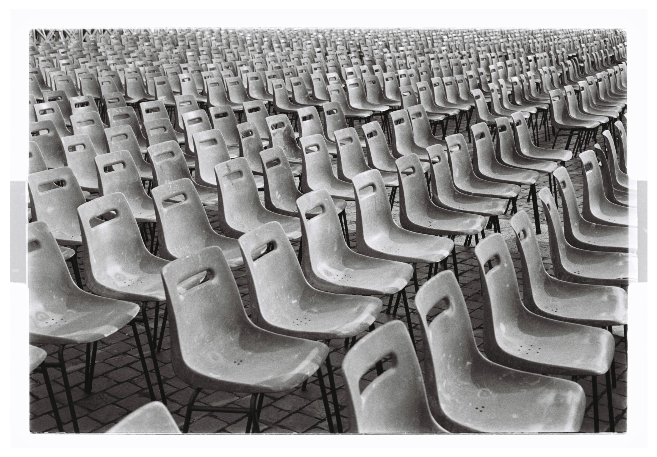 Power of Belief Chairs in Saint Peter's Square. Vatican, Italy 2016  Kodak TMAX Film