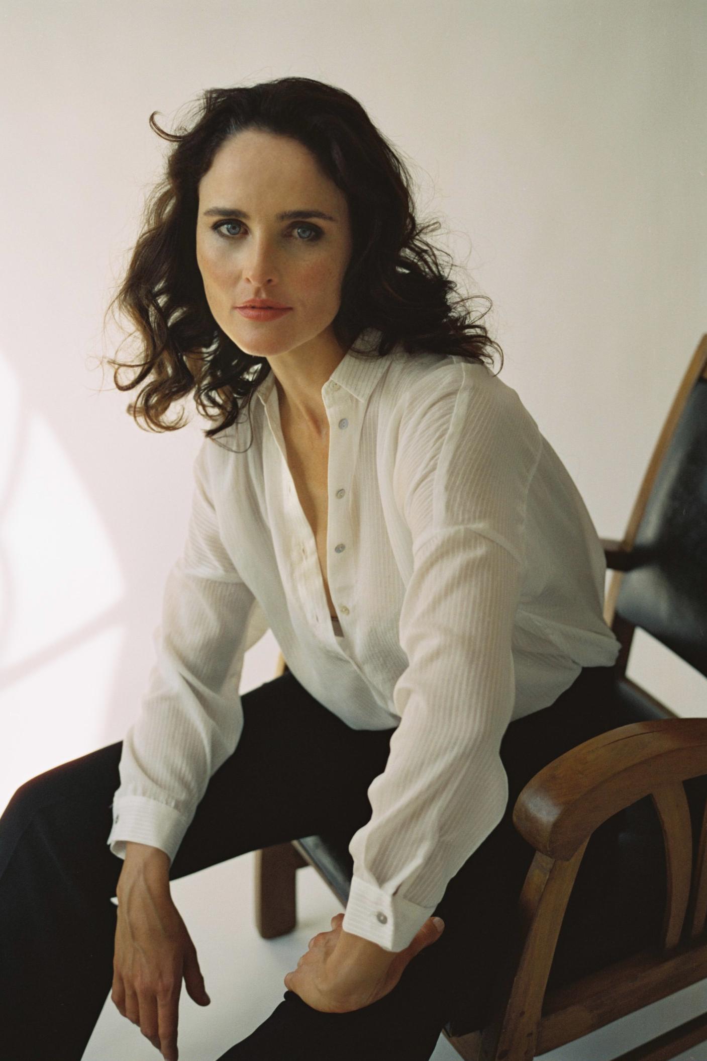 MOT Model Zanne Lee on arm chair. Photo by Dan Korkelia