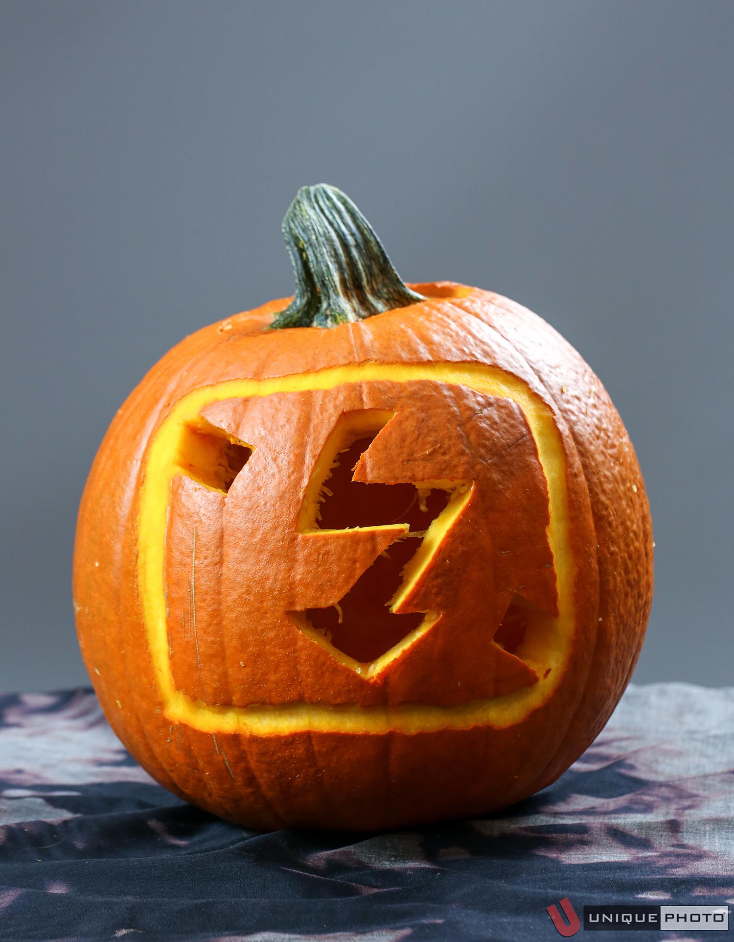 """No Flash Photography"" (Flash symbol pumpkin) by Lauren Farer"