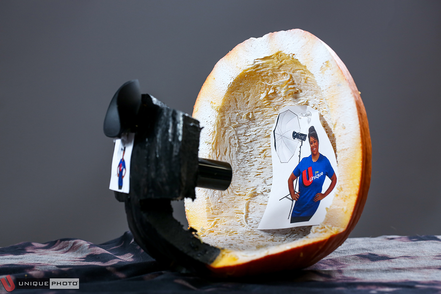 """""""20.3 MP(Megapumpkins) Mirrorless Analog Squash w/Optional Jayme V. Glamour Background"""" by Ryan Alexander. This pumpkin consists of a real, working eyecup, a pumpkin DSLR body, and an old film canister as a lens."""