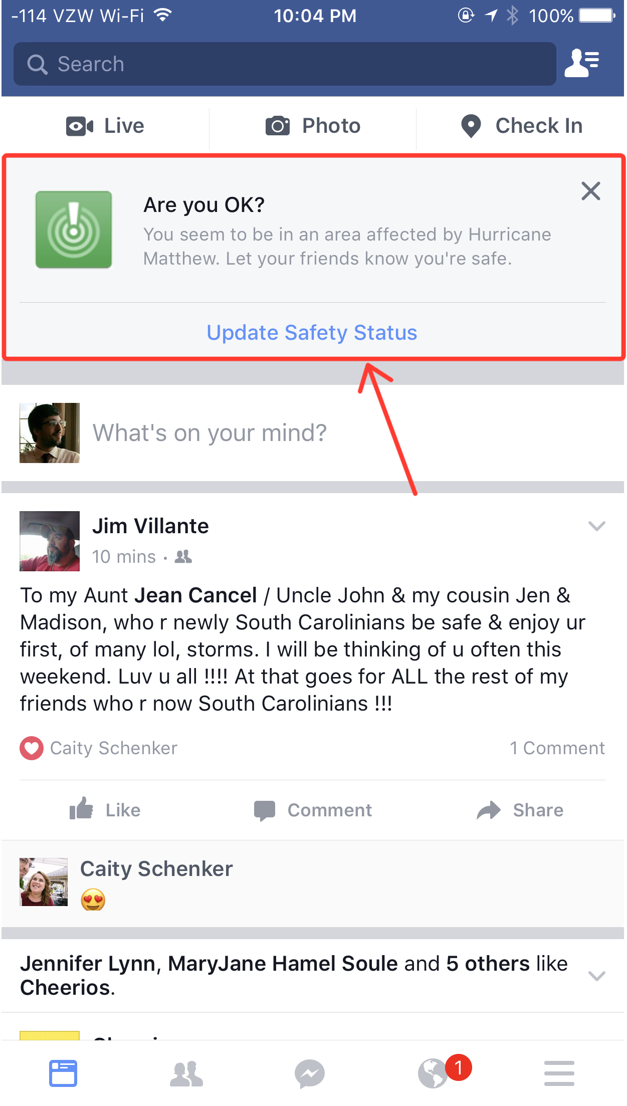 If you're in an affected area, look for an alert at the top of your Facebook feed to check in.