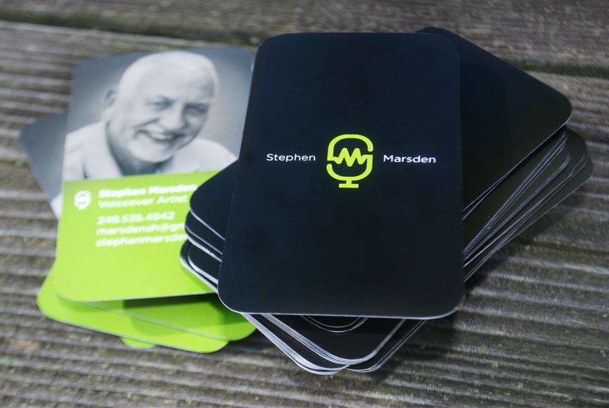 2-sided, 2-color business cards. Printing: White Pine Printers, Ann Arbor, Mi.