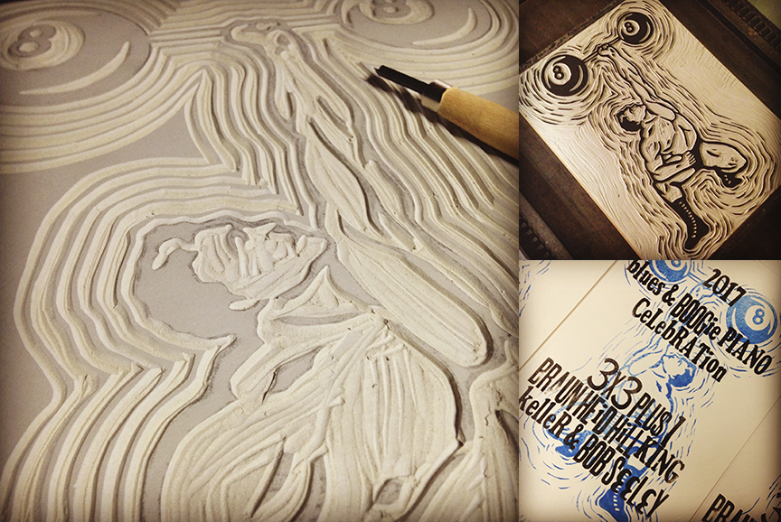 Linoleum block in process (left), inked block (top right), printed poster (bottom right)