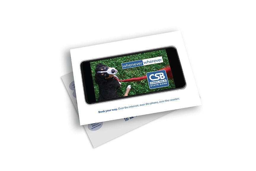 Chelsea State Bank direct mail postcard