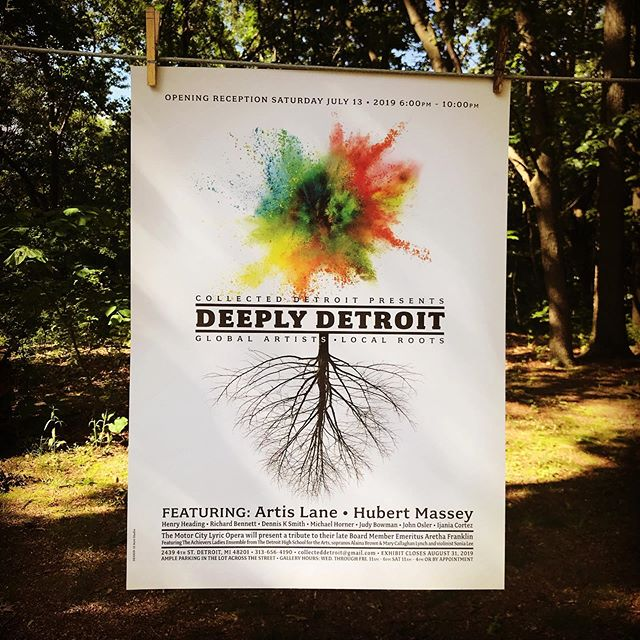 Poster design for Collected Detroit's Deeply Detroit Exhibit. Opening reception Saturday July 13. There should be posters signed by the exhibit artists available at the opening. #12acrestudio #posterdesign #artexhibitpromotion #artexhibitposter #collecteddetroit #deeplydetroitexhibit #artdetroit #detroitroots #detroitartists #artislane #hubertmassey #henryheading #richardbennett #dennisksmith #michaelhorner #judybowman #johnosler #ijaniacortez