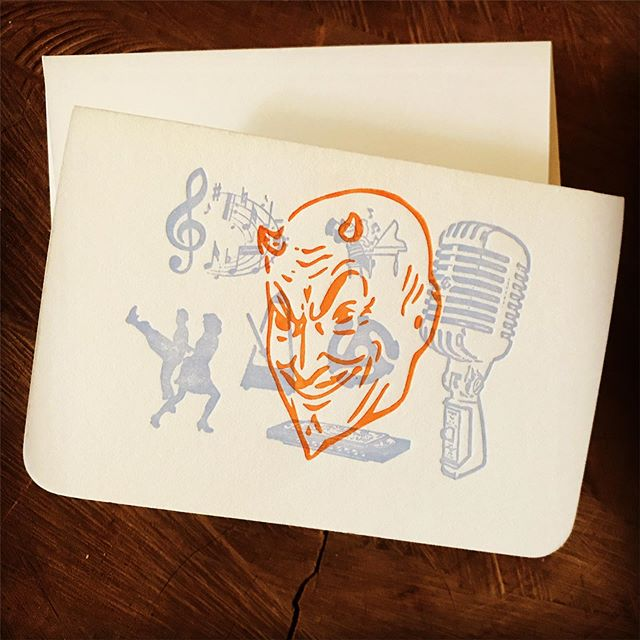 Jazz, rock, hip hop, the blues. If the music is fun and gets your body moving, someone's bound to consider it the devil's music. 2-color letterpress notecards printed on Crane's Lettra paper. Available at our Etsy shop—- search for 12 Acre Studio.