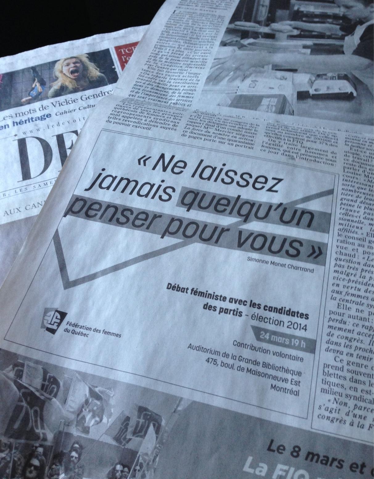 ...et parue dans le journal  Le Devoir  du samedi 8 mars dernier, à l'occasion de la Journée internationale de la femme 2014