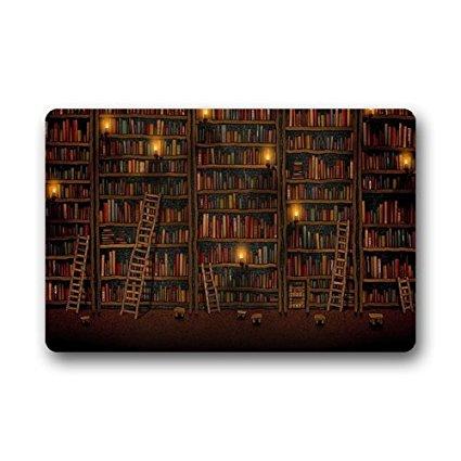 METIME Custom Library Books Bookshelf Doormat Welcome Mat Rug Outdoor Indoor Floor Mats.jpg