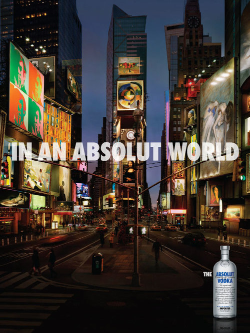 In An Absolut World Photographer: Vincent Dixon & Stock Photography (my first campaign after moving to New York in 2006) Role: Art Producer (Art Historian!) & Artist negotiations
