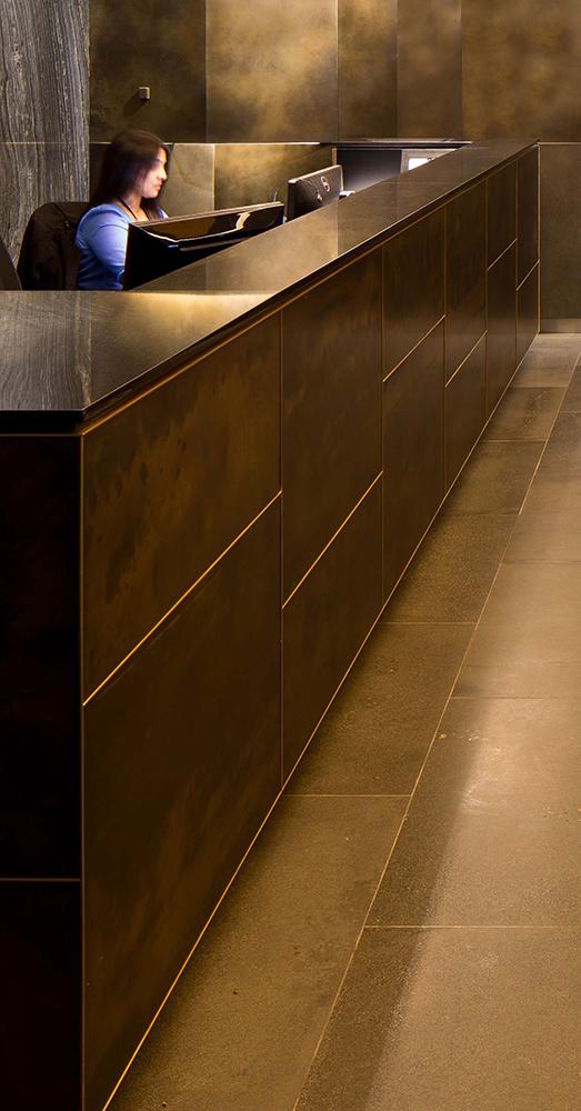 AHL Reception Counter | Brass Florentine Sheet Metal