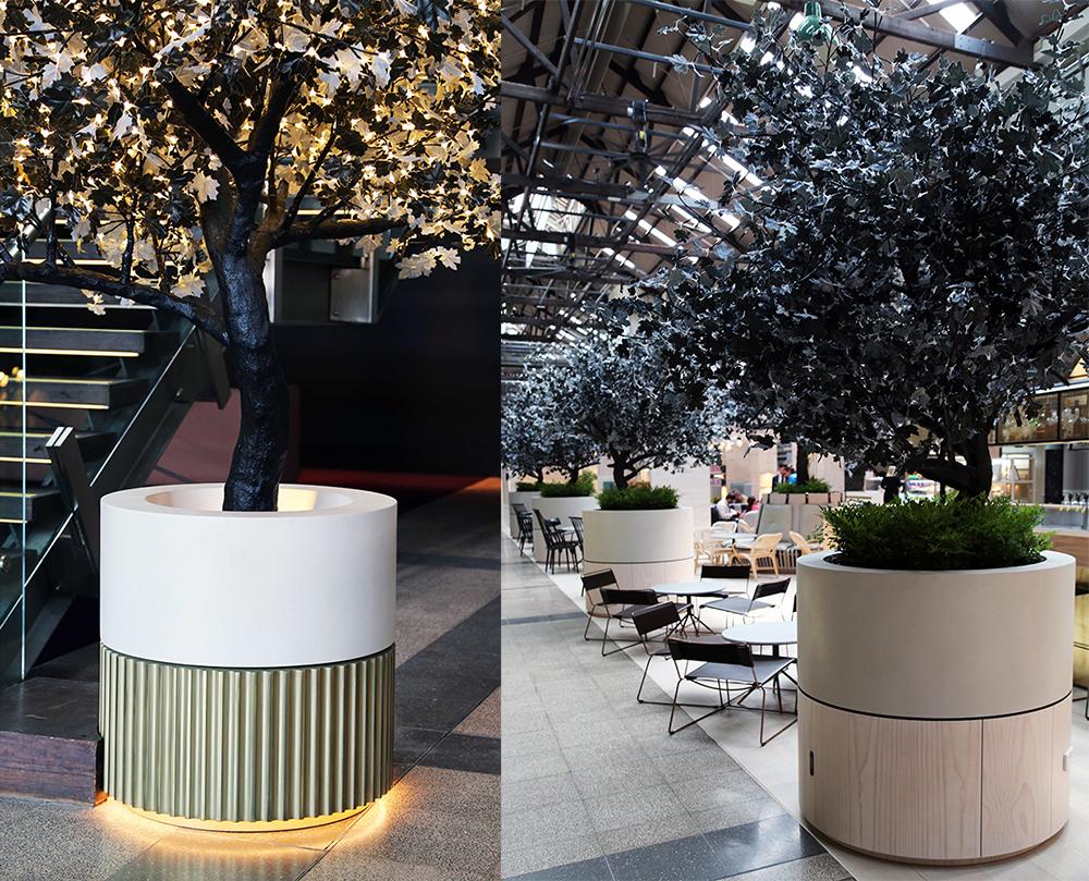 Ovolo Hotel | Brass Hicut Tarnish & Concrete Shale Planters